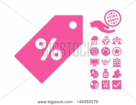 Discount Tag pictograph with bonus clip art. Vector illustration style is flat iconic symbols pink color white background.