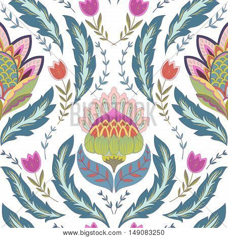 Fantasy flowers seamless pattern. Classic ornament on white background for textile wrapping wallpaper