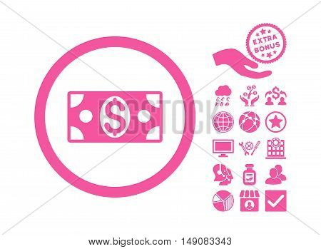 Dollar Banknote icon with bonus symbols. Vector illustration style is flat iconic symbols pink color white background.