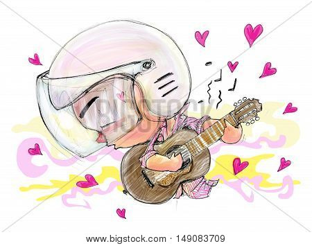 Playing Guitar love song movement people he in love entertaining Acting Character design Bike Man Cartoon pencil free hand sketch on paper have real paper texture and noise Valentine card.