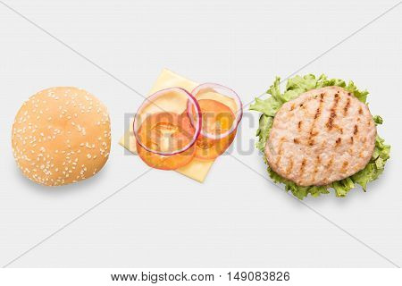 Mockup Bbq Hamburger Parts Horizontal Set Isolated On White Background. Clipping Path Included On Wh