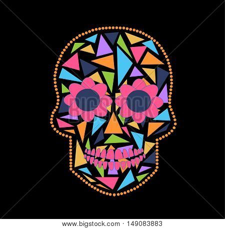 Skull vector background triangle pink, black and orange color