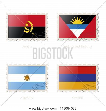 Postage Stamp With The Image Of Angola, Antigua And Barbuda, Argentina, Armenia Flag.