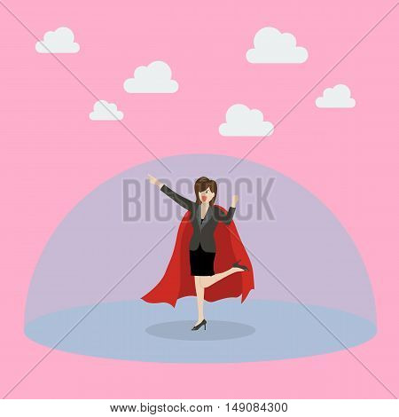 Business woman superhero with protection power. Vector Illustration