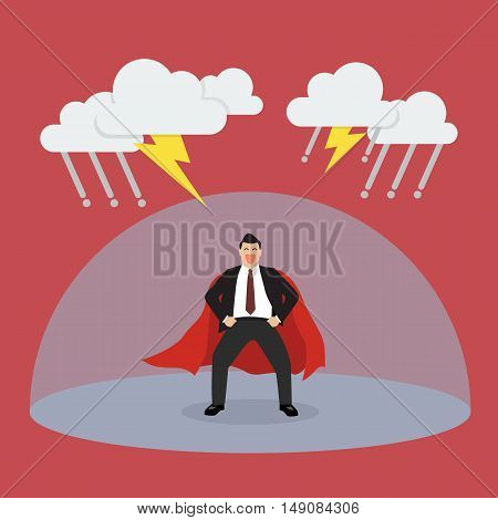 Businessman superhero with barrier protecting from thunderstorm. Vector Illustration