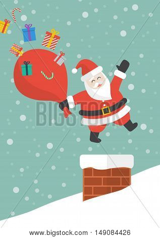 Santa claus with red big bag jumping in the chimney. Vector illustration