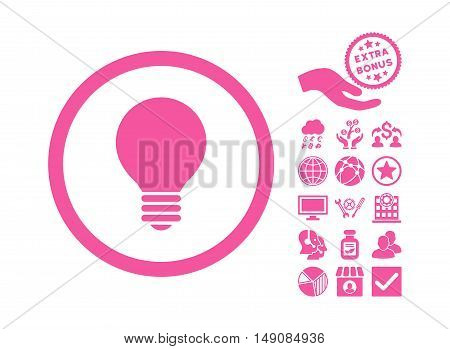 Electric Bulb pictograph with bonus clip art. Vector illustration style is flat iconic symbols pink color white background.