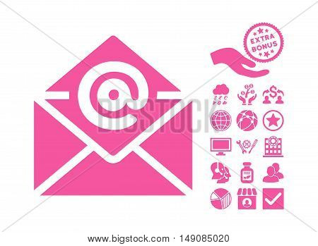Email icon with bonus images. Vector illustration style is flat iconic symbols pink color white background.