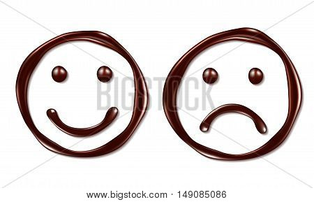 face made of chocolate syrup is isolated on a white background