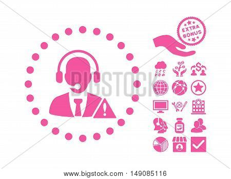 Emergency Service pictograph with bonus images. Vector illustration style is flat iconic symbols pink color white background.