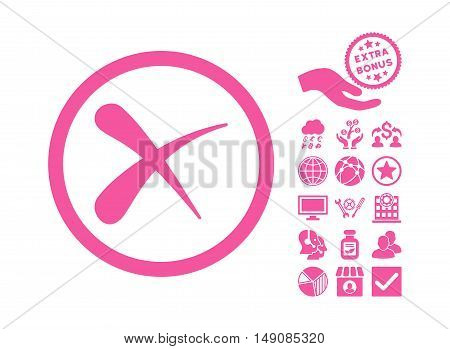 Erase icon with bonus icon set. Vector illustration style is flat iconic symbols pink color white background.