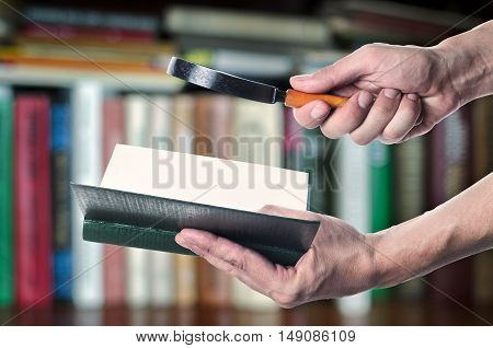 Magnifying Glass Or Loupe With Book In Hand