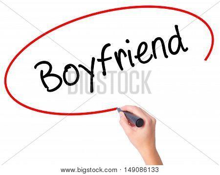 Women Hand Writing Boyfriend With Black Marker On Visual Screen.
