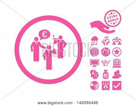 Euro Discuss Persons icon with bonus pictures. Vector illustration style is flat iconic symbols pink color white background.