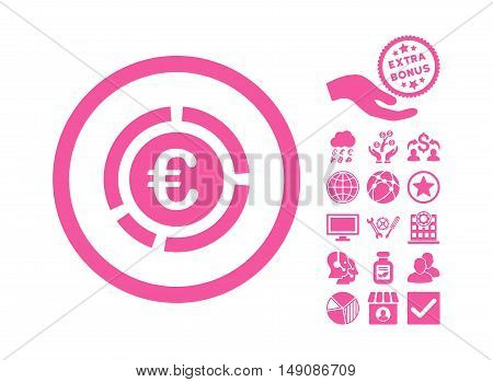 Euro Financial Diagram icon with bonus design elements. Vector illustration style is flat iconic symbols pink color white background.