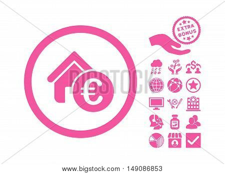 Euro Home Rent pictograph with bonus clip art. Vector illustration style is flat iconic symbols pink color white background.