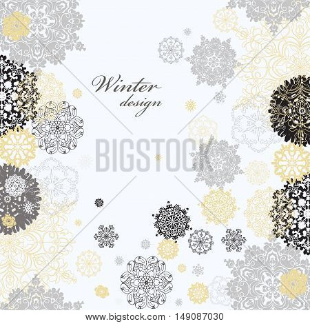 Winter abstract design with gold and white snowflakes and stars and silver background. Silver light design and text place. Silver vintage vector illustration.