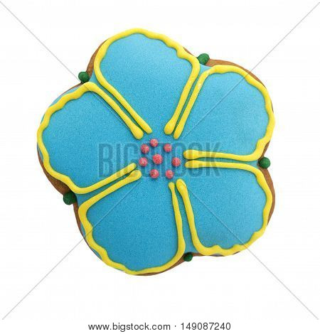 Cookies glazed flower-shaped on a white background