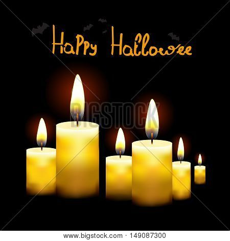 Black background with burning candles Suitable for Halloween