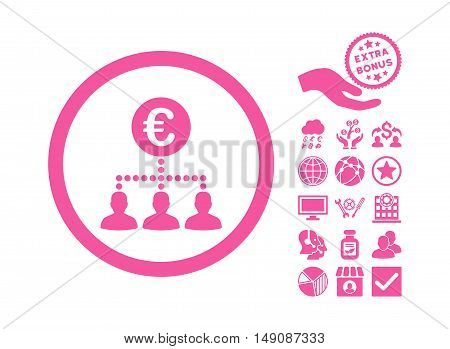 Euro Payment Clients icon with bonus pictograph collection. Vector illustration style is flat iconic symbols pink color white background.