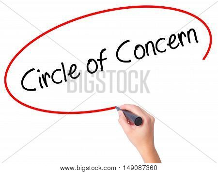 Women Hand Writing Circle Of Concern With Black Marker On Visual Screen