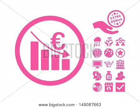 Euro Recession icon with bonus elements. Vector illustration style is flat iconic symbols pink color white background.