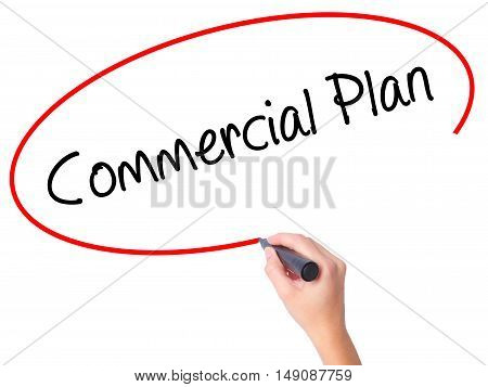 Women Hand Writing Commercial Plan With Black Marker On Visual Screen.