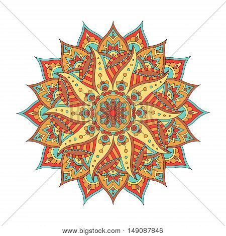 Oriental Colofrful Mandala Isolated on White Background. Vintage Decorative Element. Vector illustration
