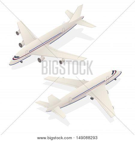 Passenger Airplane Isometric Transportation Isolated on White Background. Vector illustration