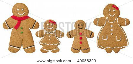 Gingerbread Family Decorated With Icing And Fondant