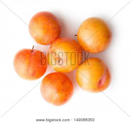 Ripe yellow plums isolated on white background. Top view.