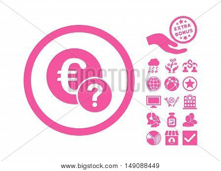 Euro Status pictograph with bonus pictogram. Vector illustration style is flat iconic symbols pink color white background.