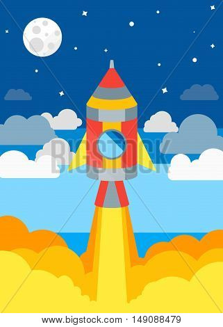 Rocket Ship Flying in Sky. Flat Design. Vector illustration