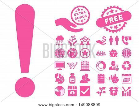 Exclamation Sign icon with bonus symbols. Vector illustration style is flat iconic symbols pink color white background.