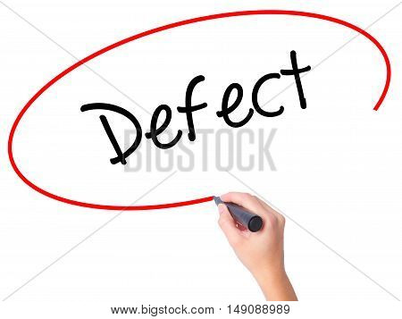 Women Hand Writing Defect With Black Marker On Visual Screen