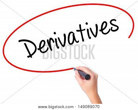 Women Hand Writing Derivatives With Black Marker On Visual Screen