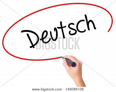 Women Hand Writing Deutsh (german In German) With Black Marker On Visual Screen