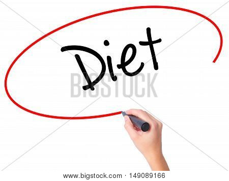 Women Hand Writing Diet (in Portuguese)  With Black Marker On Visual Screen
