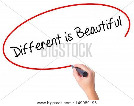 Women Hand Writing Different Is Beautiful With Black Marker On Visual Screen
