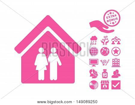 Family House pictograph with bonus symbols. Vector illustration style is flat iconic symbols pink color white background.