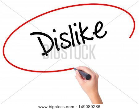 Women Hand Writing Dislike  With Black Marker On Visual Screen