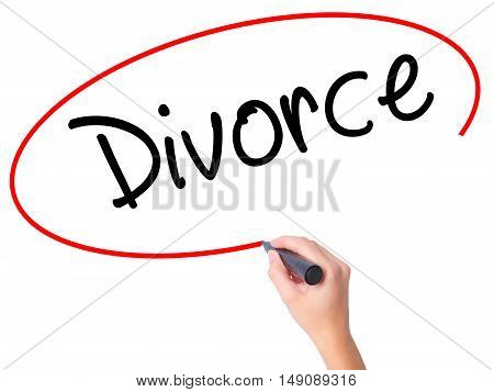 Women Hand Writing Divorce  With Black Marker On Visual Screen