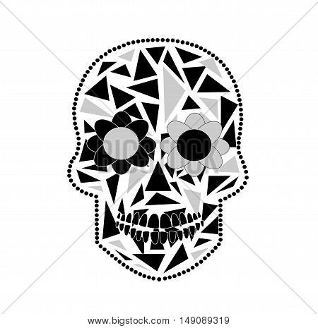 Skull vector background triangle black and white