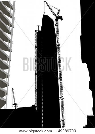 illustration with house building and cranes near skyscrapers