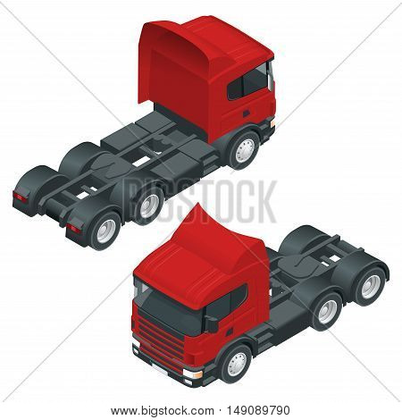 Heavy truck with the trailer. 3D isometric vector illustration. The set of objects isolated against the write background and shown from different sides.