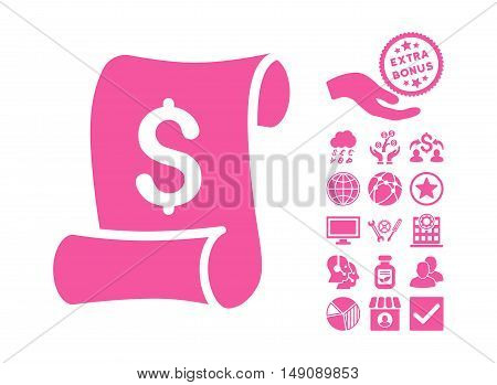 Financial Receipt Roll pictograph with bonus images. Vector illustration style is flat iconic symbols pink color white background.