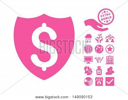 Financial Shield pictograph with bonus icon set. Vector illustration style is flat iconic symbols pink color white background.