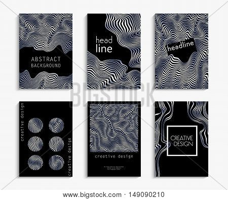Creative hand drawn cards in silver and black. Wavy striped vector background. Deformed space. Abstract festive design. Set backgrounds. Expensive, luxurious, shiny, metal. Vector illustration EPS 10