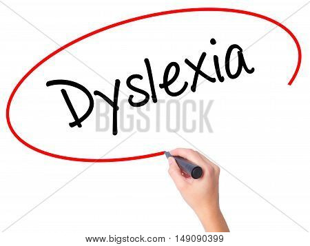 Women Hand Writing Dyslexia With Black Marker On Visual Screen