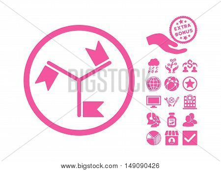 Flags icon with bonus clip art. Vector illustration style is flat iconic symbols pink color white background.